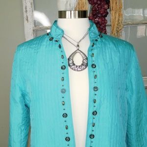 Alfred Dunner Quilted Turquoise Jacket